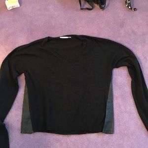 Black sweater with leather detail